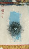 stock photo of bird-nest  - Traditional Chinese symbols and birds nest mixed media art - JPG