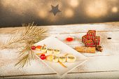 pic of christmas meal  - Fruity Christmas dessert set up and decorated as a kid meal - JPG