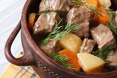 picture of stew pot  - beef stew with vegetables and dill in a pot close up - JPG