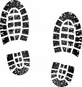 foto of footprint  - illustration of black footprints on white background - JPG