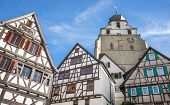 foto of timber  - Detail of the old town of Herrenberg, Germany, with half-timbered houses and the church Stiftskirche.