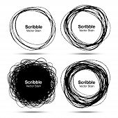 stock photo of circle shaped  - Set of Hand Drawn in Pencil Scribble Circles - JPG