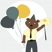 stock photo of animated cartoon  - Cartoon bear in a tie a shirt with balloons and flower - JPG