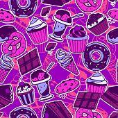 stock photo of ice-cake  - Seamless pattern with sweet food cakes chocolate ice - JPG