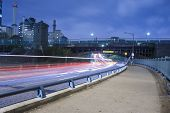 picture of prudential center  - Boston city streets at night car trafic light trails - JPG