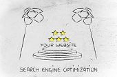 pic of ebusiness  - conceptual spotlight illustration about search engine optimization - JPG