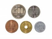 stock photo of japanese coin  - All type of Japanese yen currency coin isolated on white background - JPG