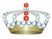 picture of crown jewels  - Gold crown with jewels on a white background - JPG