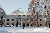 image of winter palace  - Verkiu palace and park in Vilnius in winter - JPG