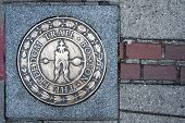 picture of revolutionary war  - Boston the Freedom Trail sign Massachusetts USA - JPG
