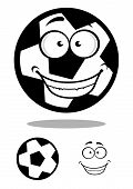 picture of goofy  - Happy black and white cartoon football or soccer ball with a goofy smile with a second plain variant with the face separate - JPG