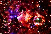 image of christmas bells  - Christmas bell hanging on a christmas tree with colorful lit