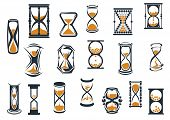 foto of sand timer  - Egg timers and hourglasses in brown and black in various shapes showing sand running through measuring passing time - JPG
