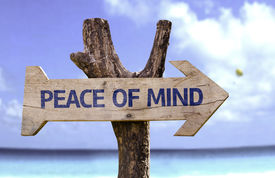 pic of senses  - Peace of Mind wooden sign with a beach on background  - JPG