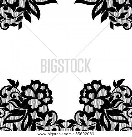 White flower frame, lace mehendi ornament