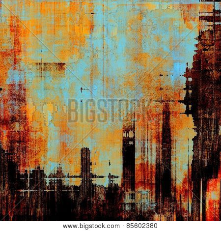 Grunge texture, Vintage background. With different color patterns: yellow (beige); brown; red (orange); blue