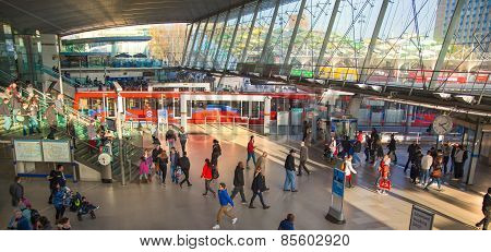 LONDON, UK - NOVEMBER 29, 2014: Stratford International the transport station: tube, train and busse
