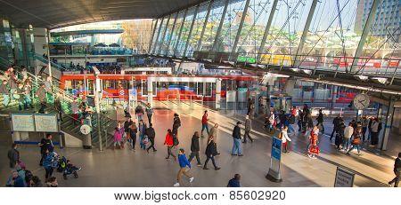 LONDON, UK - NOVEMBER 29, 2014: Stratford International the transport station: tube, train and busse