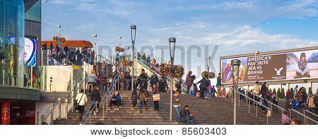 LONDON, UK - NOVEMBER 29, 2014: Stratford international station. Stairs leading to the shopping cen