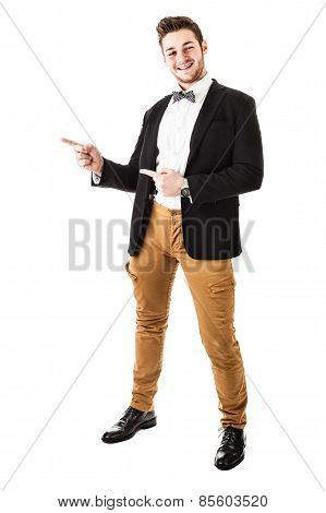 Guy With Bow Tie Pointing