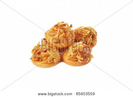 Round Cracker With Crispy Durian Isolated On White Background