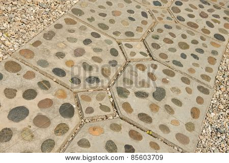rock foot path decoration background and texture.