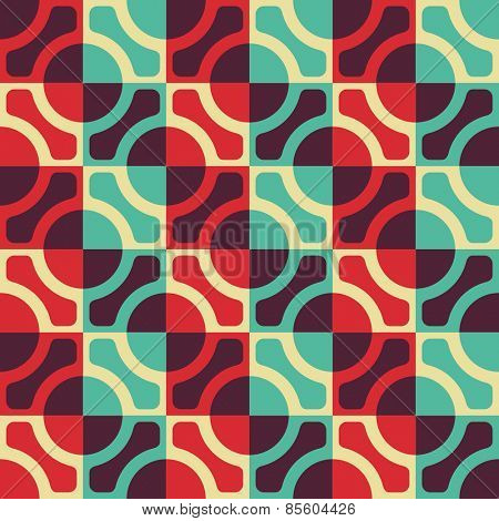 Seamless Circle and Square Pattern. Vector Regular Texture