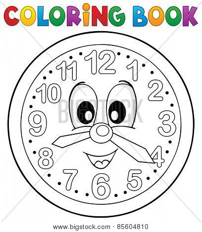 Coloring book clock theme 2 - eps10 vector illustration.