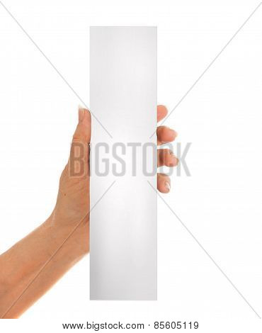 Hand holding white paper, cardboard. White background with space for text
