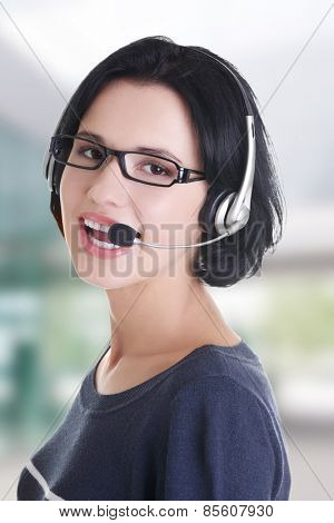 Closeup of attractive customer support representative smiling