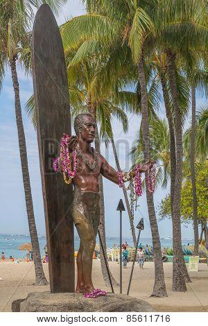 Duke Kahanamoku Statue in Waikiki.