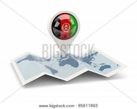 Round Pin With Flag Of Afghanistan