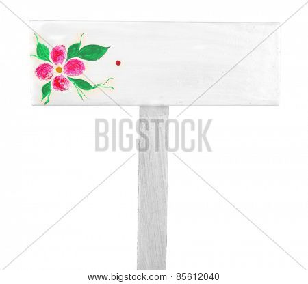 Wooden sign with flower isolated on white