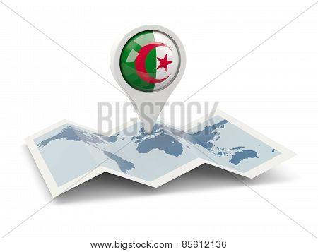 Round Pin With Flag Of Algeria