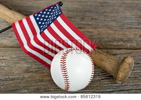 American flag with baseball