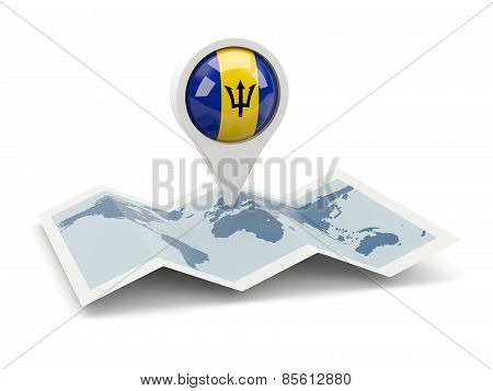 Round Pin With Flag Of Barbados