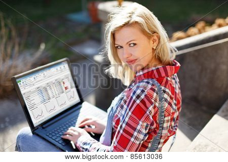 Confident Young Businesswoman Working On Laptop
