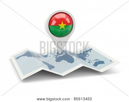 Round Pin With Flag Of Burkina Faso