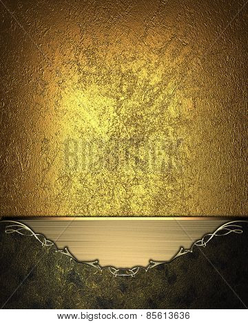 Gold Background With Dark Frame With Gold Border. Design Template. Design Site