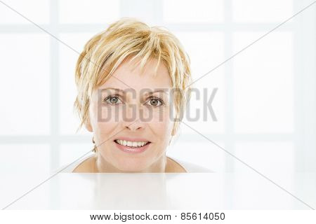 Facet of nice, forty years old woman