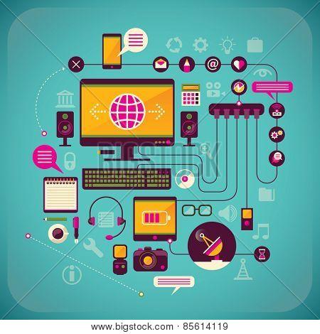Communication technologies. Vector illustration.