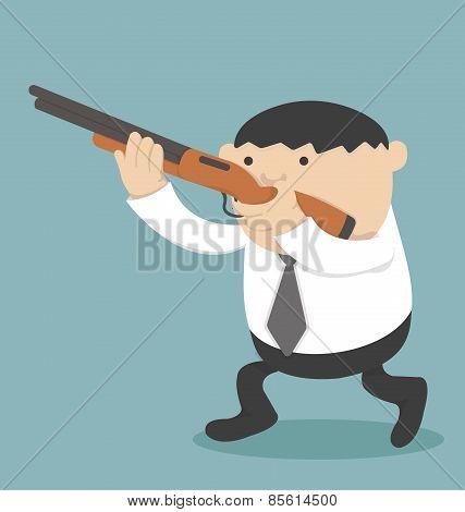 Obese Businessman Holding A Gun