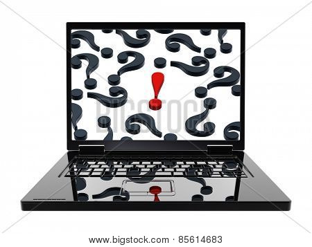 Laptop with question marks with red exclamation point on the screen isolated over white. Computer generated 3D photo rendering.