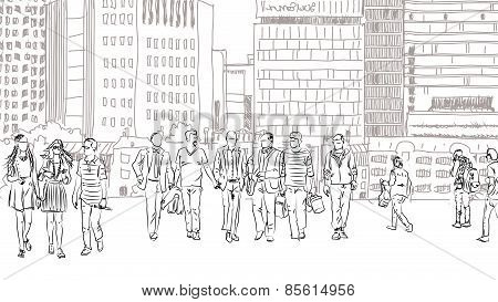 People and tourists on the London streets, Sketch collection