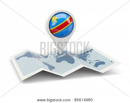 Round Pin With Flag Of Democratic Republic Of The Congo