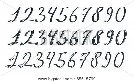 Vector sets of hand drawn numbers
