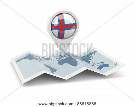 Round Pin With Flag Of Faroe Islands
