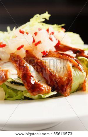 salad with smoked eel