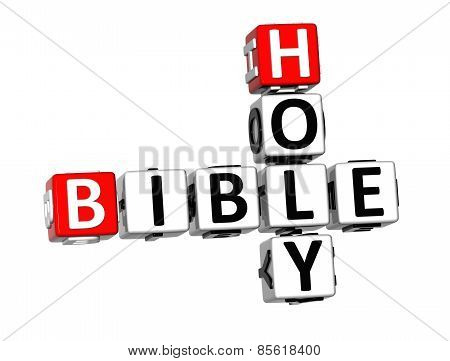3D Crossword Holy Bible On White Background