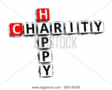3D Crossword Happy Charity On White Background